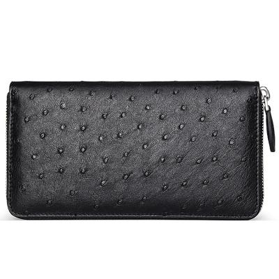 Genuine Ostrich Skin Long Wallet with Zipper for Men-Black