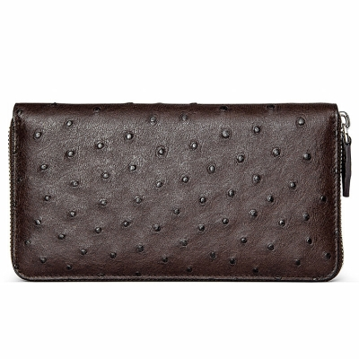 Genuine Ostrich Skin Long Wallet with Zipper for Men-Brown