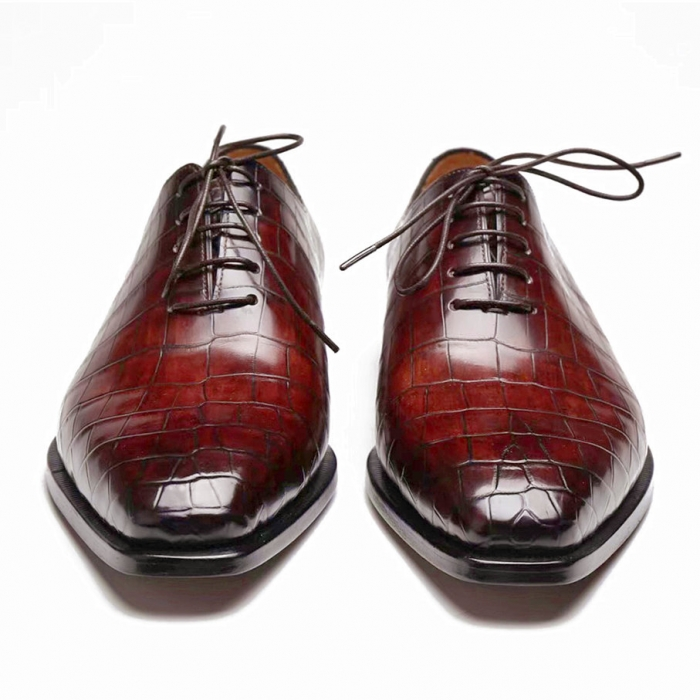 Handcrafted Alligator Oxford Formal Office Dress Shoes-1