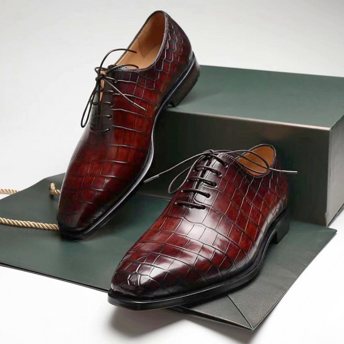 Handcrafted Alligator Oxford Formal Office Dress Shoes-2