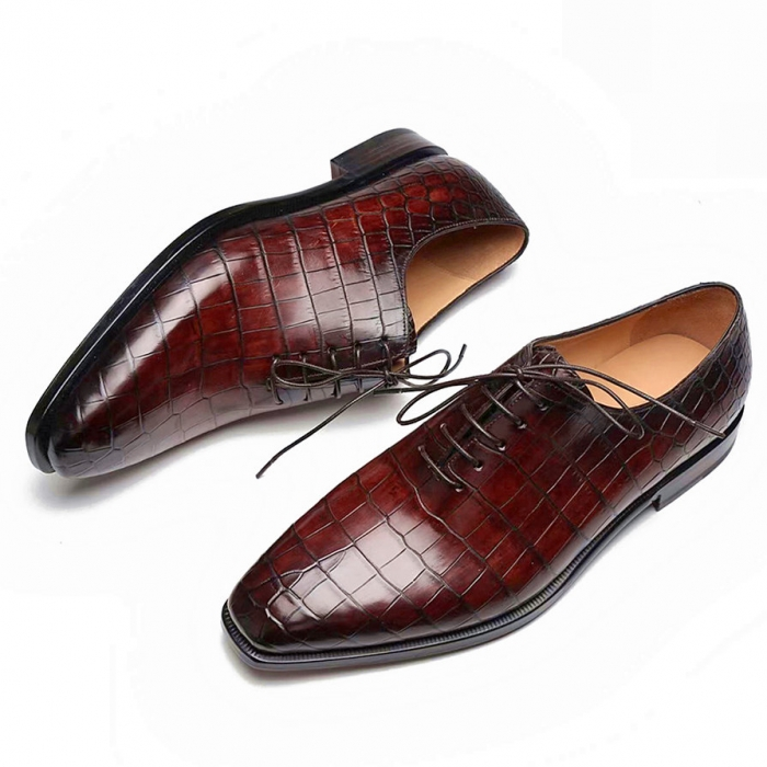 Handcrafted Alligator Oxford Formal Office Dress Shoes