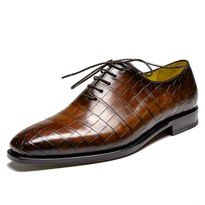 Handcrafted Alligator Oxford Formal Office Dress Shoes for Men-Brown