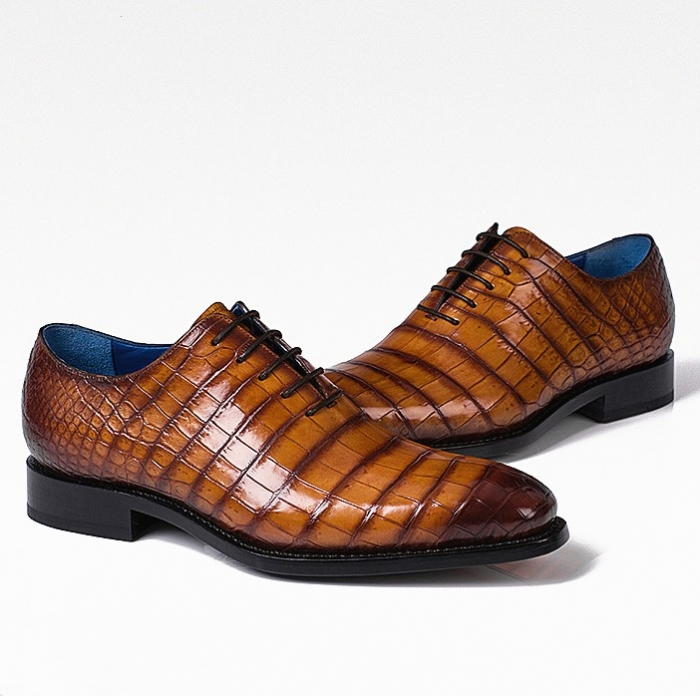 Handcrafted Genuine Alligator Leather Lace up Shoes Wholecut Oxford Shoes-1