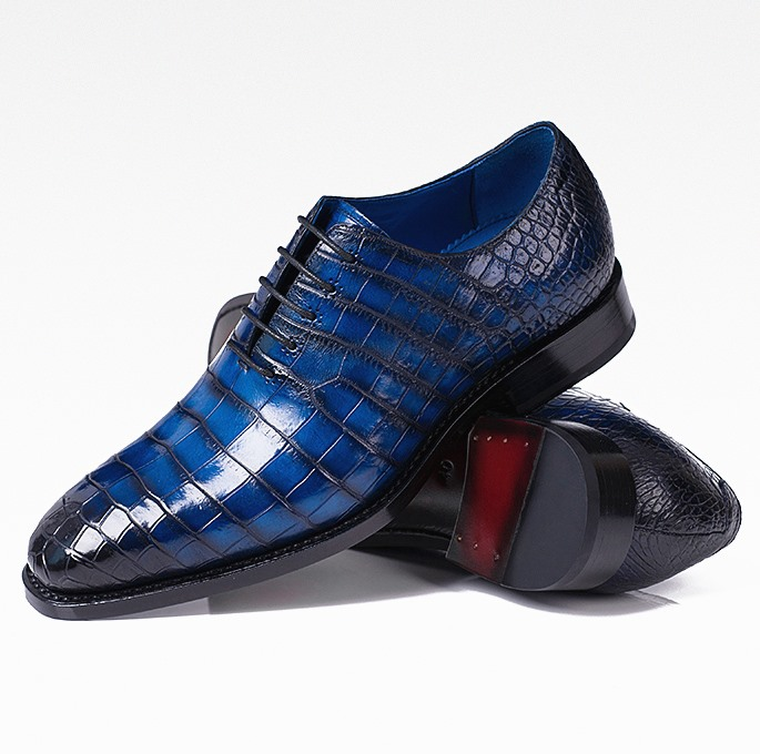 Handcrafted Genuine Alligator Leather Lace up Shoes Wholecut Oxford Shoes-Blue