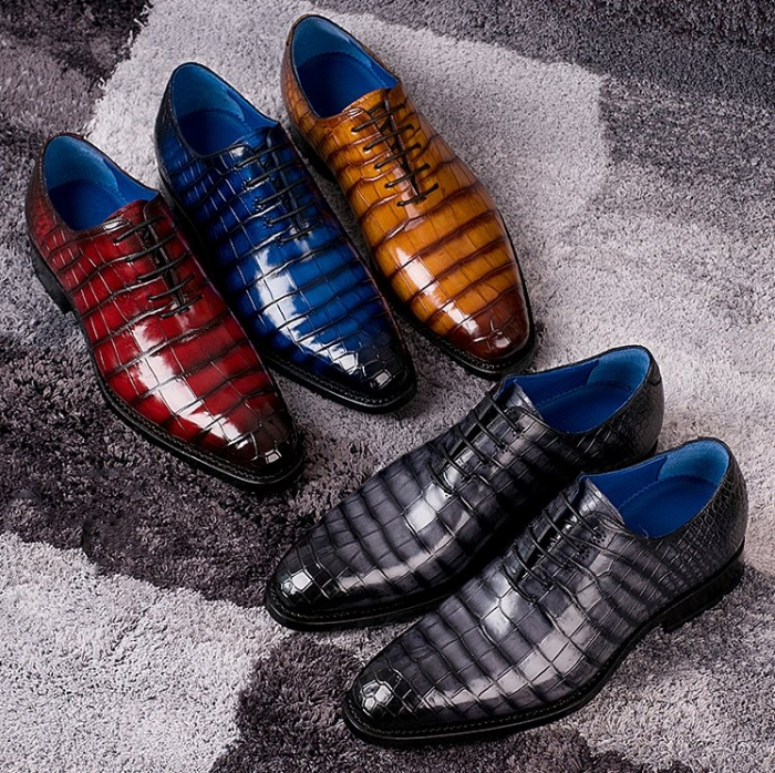 Handcrafted Genuine Alligator Leather Lace up Shoes Wholecut Oxford Shoes for Men