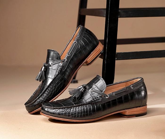 Mens Alligator Slip-on Moccasin Tie-Bow Loafer Driving Shoes