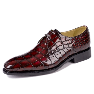 Men's Classic Modern Alligator Oxfords Lace Up Leather Lined Dress Shoes