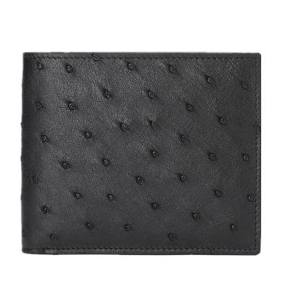 Mens Ostrich Skin Bifold Wallets - Black