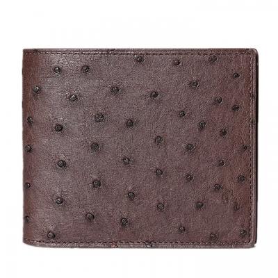 Mens Ostrich Skin Bifold Wallets - Brown