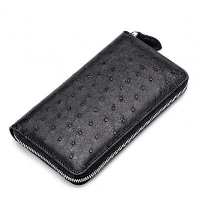 Ostrich Skin Long Wallet with Zipper for Men-Black
