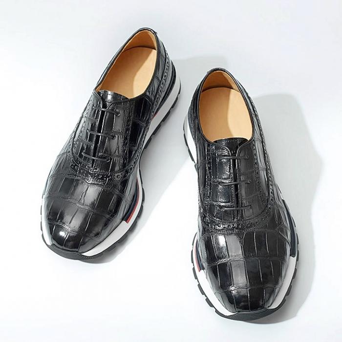 Alligator Leather Sneaker for Men-Black