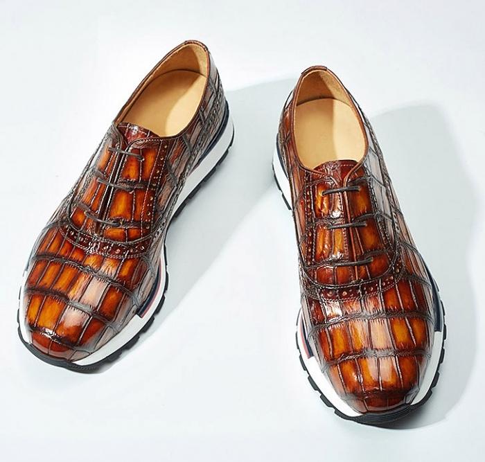 Alligator Leather Sneaker for Men-Burgundy