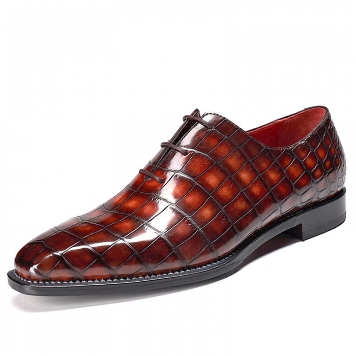 Alligator Leather Wholecut Oxford Shoes-Burgundy