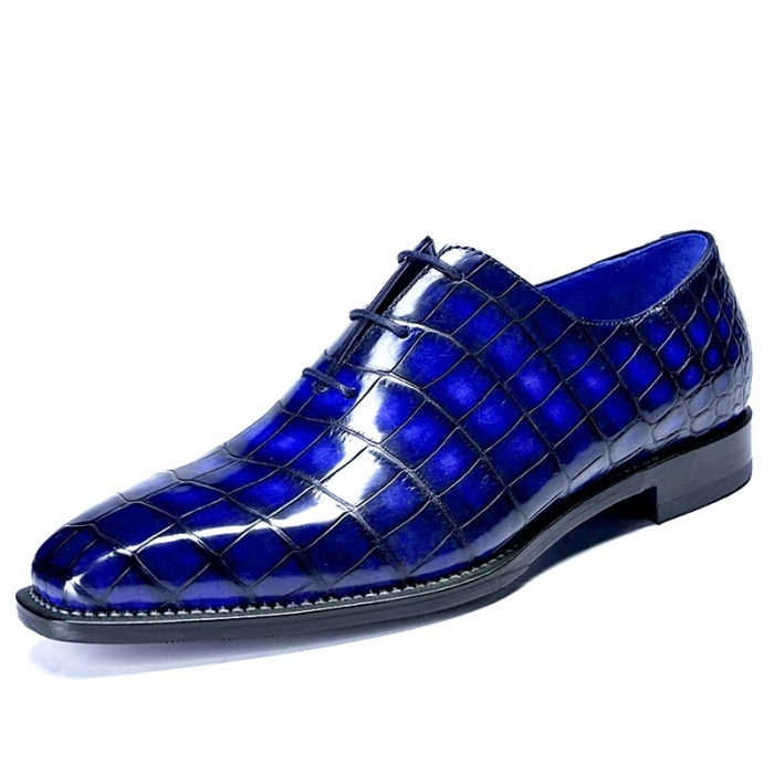 Alligator Leather Wholecut Oxford Shoes-Burgundy-Blue