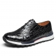 Lightweight Alligator Leather Sneaker for Men-Black