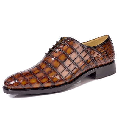 Luxury Men's Alligator Leather Wholecut Oxford Shoes