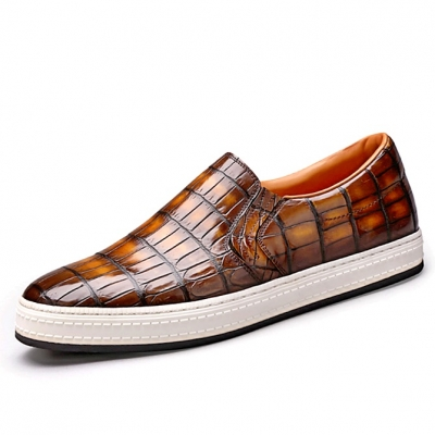 Men's Alligator Leather Lace Up Sneakers