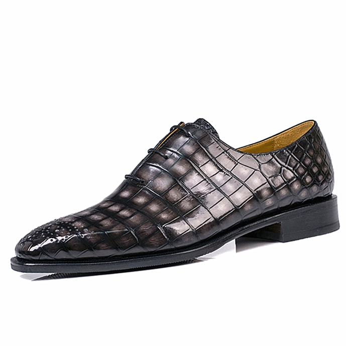 Men's Alligator Leather Wholecut Oxford Shoes-Gray