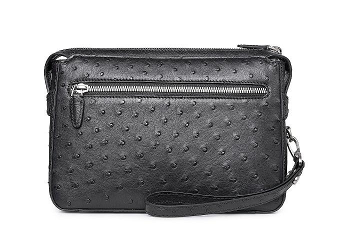 Men's Ostrich Business Clutch Wrist Bag-Back