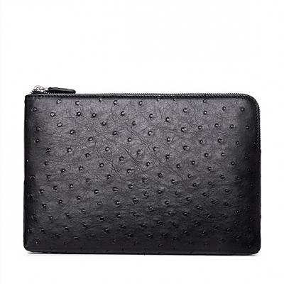 Ostrich Envelope Clutch Bag Business Portfolio Briefcase Large Wallet With Strap