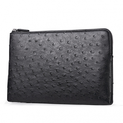 Ostrich Envelope Clutch Bag Business Portfolio Briefcase Large Wallet With Strap-Micro side