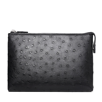 Ostrich Leather Large Wallet With Strap Wristlet Clutch Bag for Men