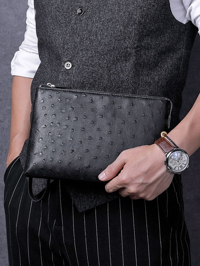 Ostrich Leather Large Wallet with Strap Wristlet Clutch Bag for Men-1