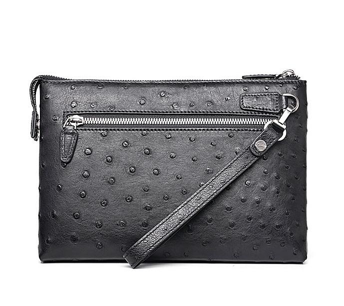 Ostrich Leather Large Wallet with Strap Wristlet Clutch Bag for Men-Back