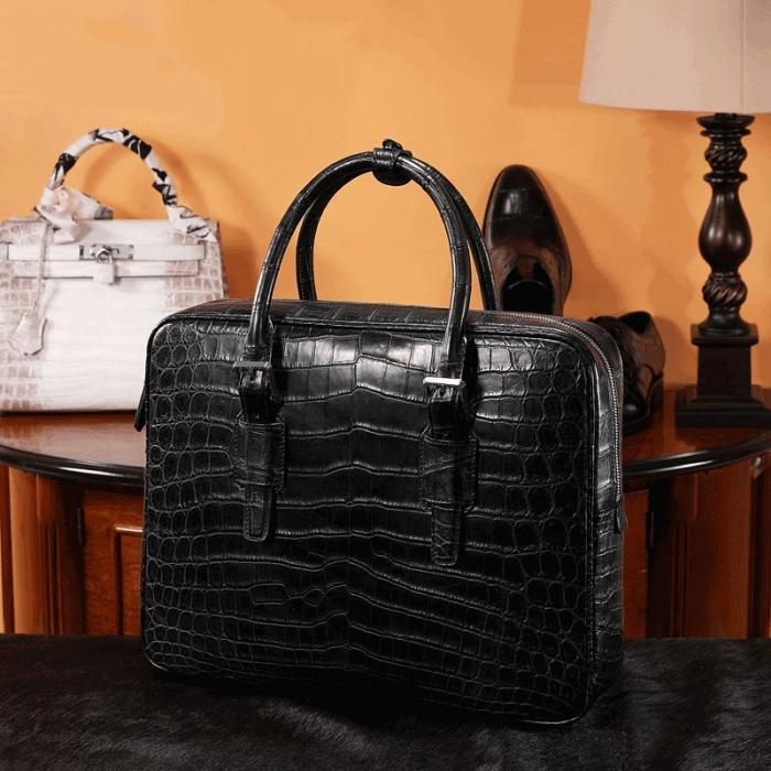 Alligator Leather Briefcase Laptop Business Bag for Men-1
