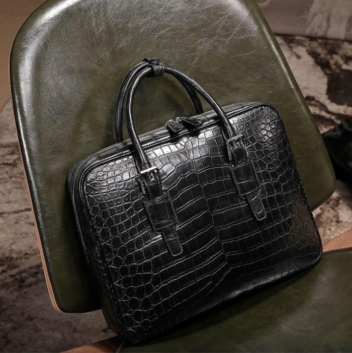 Alligator Leather Briefcase Laptop Business Bag for Men