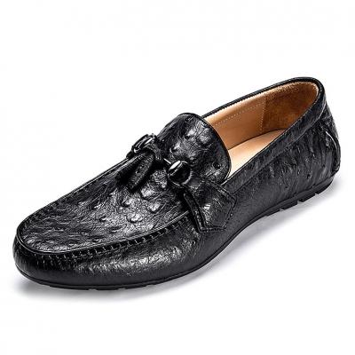 Comfortable Ostrich Leather Tassel Loafer Slip-On Shoes-Black