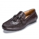 Comfortable Ostrich Leather Tassel Loafer Slip-On Shoes-Brown