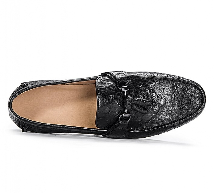 Comfortable Ostrich Leather Tassel Loafer Slip-On Shoes-Upper