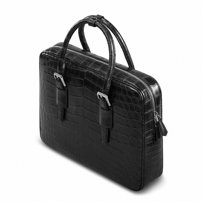 Formal Alligator Leather Briefcase Laptop Business Bag for Men-Top