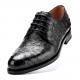 Ostrich Skin Derby Oxford Formal Dress Shoes-Black