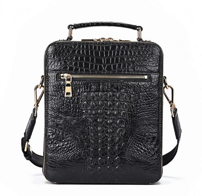 Small Crocodile Messenger Bag Crossbody Satchel Shoulder Bag-Black-Back