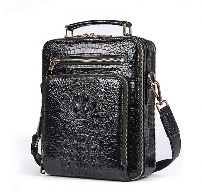 Small Crocodile Messenger Bag Crossbody Satchel Shoulder Bag-Black-Micro side