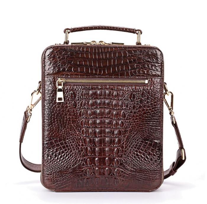 Small Crocodile Messenger Bag Crossbody Satchel Shoulder Bag-Brown-Back