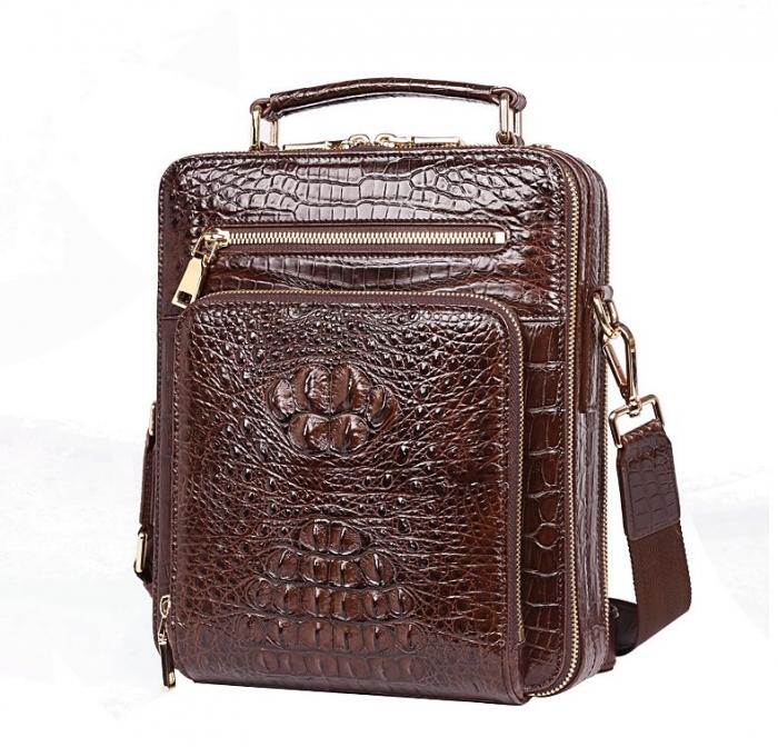 Small Crocodile Messenger Bag Crossbody Satchel Shoulder Bag-Brown-Micro side