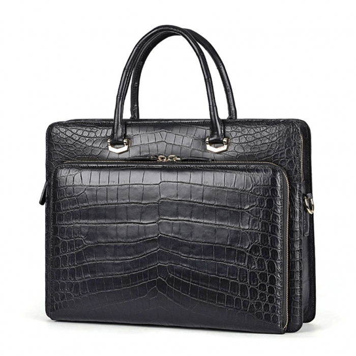 Stylish Alligator Messenger Bags Laptop Briefcases for Men-Micro Side