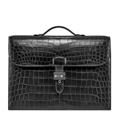 Unisex Alligator Briefcase Laptop Handbag-Black