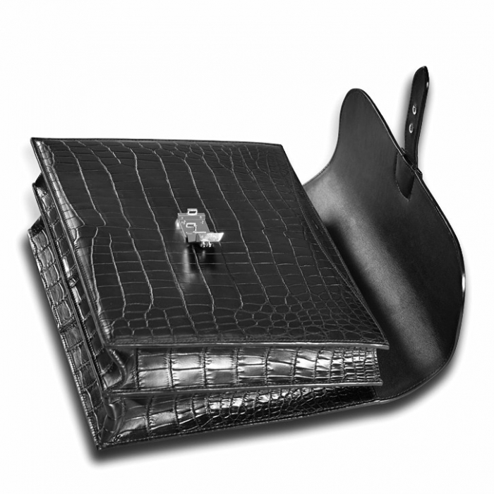 Unisex Alligator Briefcase Laptop Handbag-Black-Details