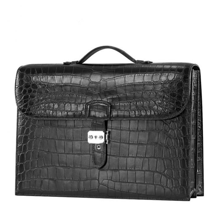 Unisex Alligator Briefcase Laptop Handbag-Black-Micro Side
