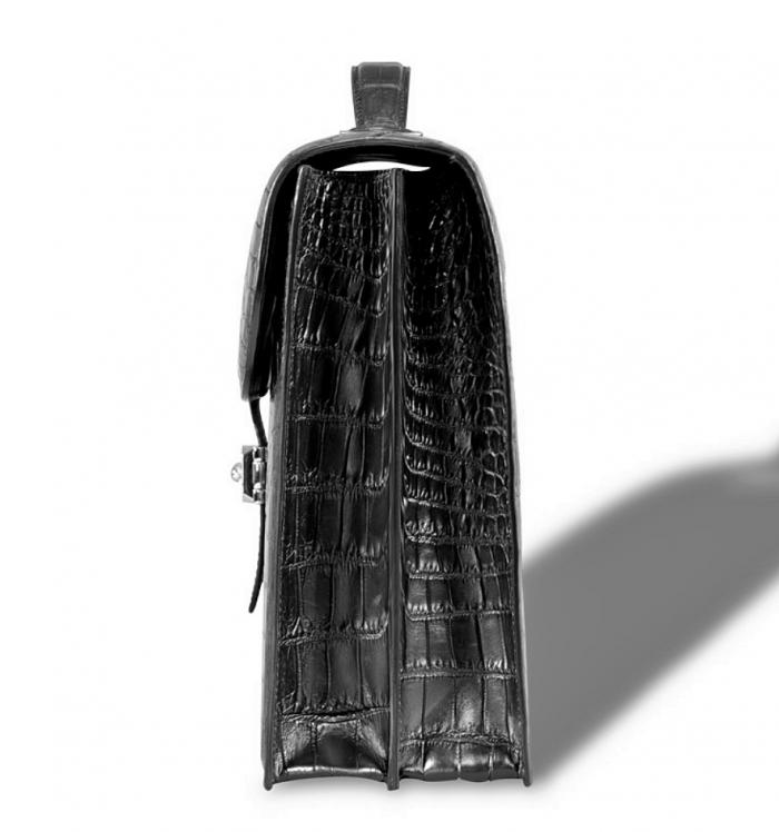 Unisex Alligator Briefcase Laptop Handbag-Black-Side