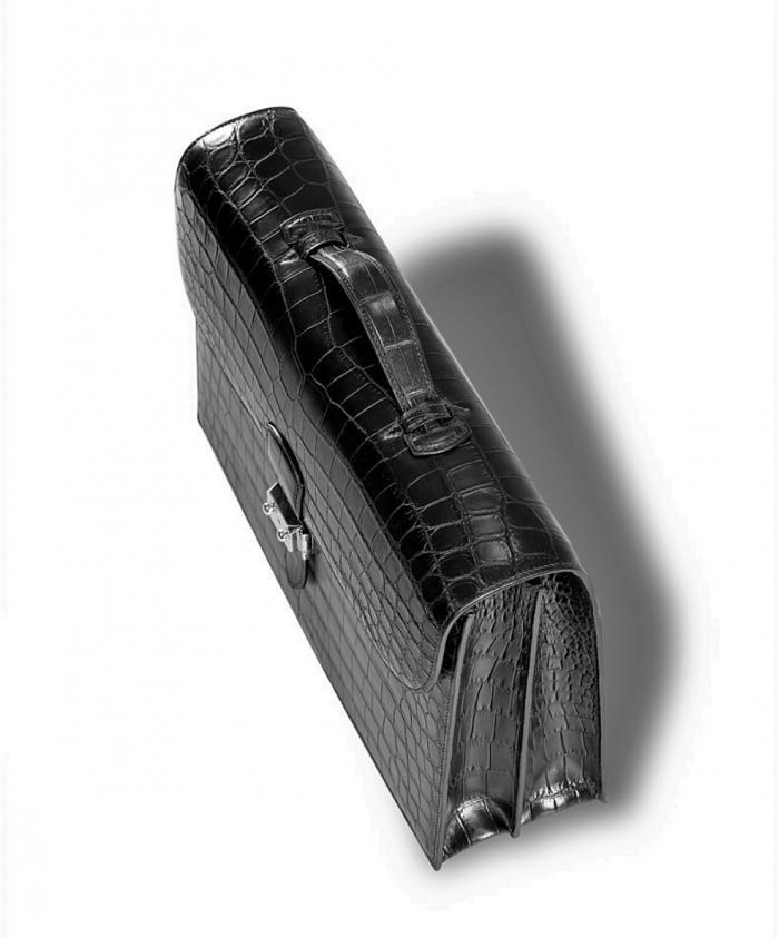 Unisex Alligator Briefcase Laptop Handbag-Black-Top