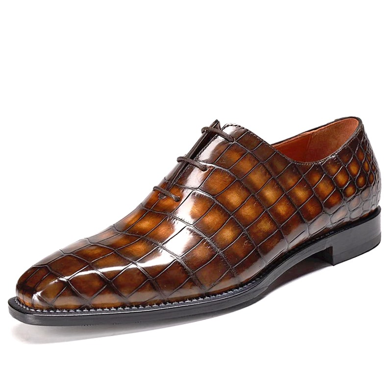 Alligator Leather Wholecut Oxford Shoes