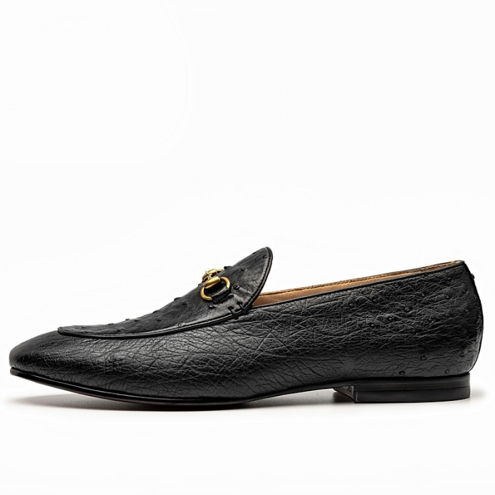 Casual Ostrich Skin Bit Slip-on Loafer-Side