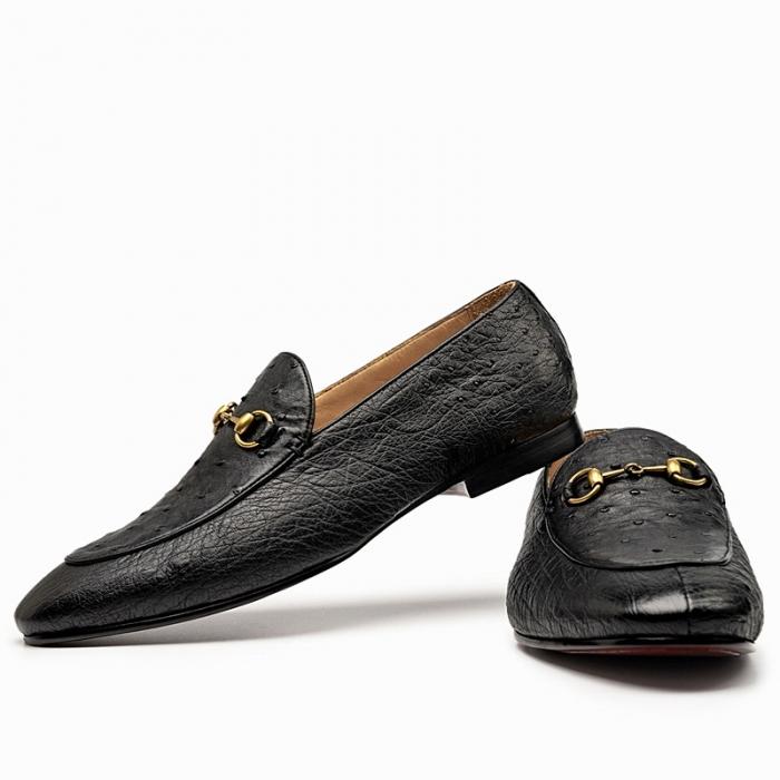 Casual Ostrich Skin Bit Slip-on Loafer for Men