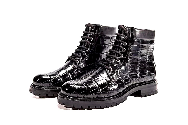Handcrafted alligator leather boots for men