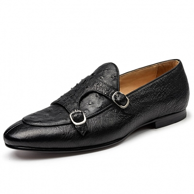Men's Ostrich Double Buckle Monk Strap Loafer
